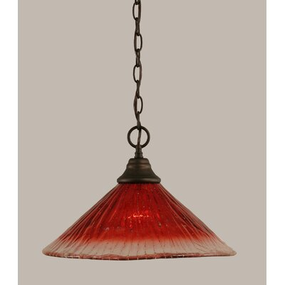 1-Light Bowl Pendant in Raspberry Crystal Glass Finish: Bronze