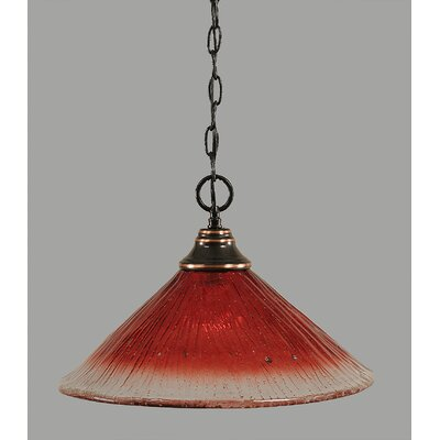 1-Light Bowl Pendant in Raspberry Crystal Glass Finish: Black Copper