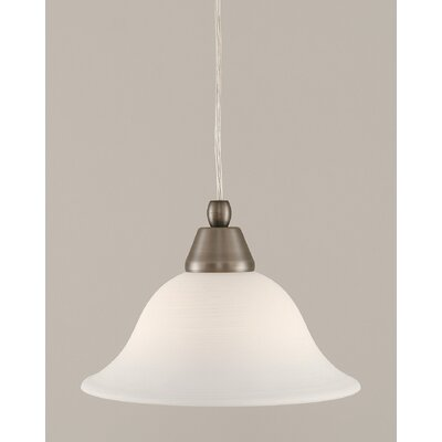 1-Light Mini Pendant Finish: Brushed Nickel, Shade Color: White