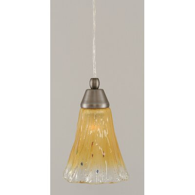 1-Light Mini Pendant Finish: Brushed Nickel, Shade Color: Amber