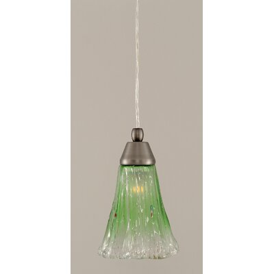 1-Light Mini Pendant Finish: Brushed Nickel, Shade Color: Kiwi Green