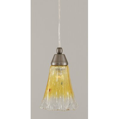 1-Light Mini Pendant Finish: Brushed Nickel, Shade Color: Gold Champagne