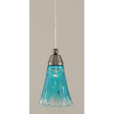 1-Light Mini Pendant Finish: Brushed Nickel, Shade Color: Teal