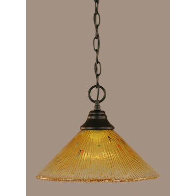 1-Light Mini Pendant Shade Color: Gold Champagne, Size: 9.75 H x 12 W