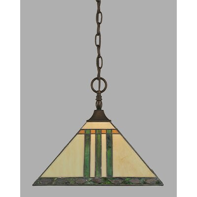 1-Light Chain Pendant Finish: Black Copper, Shade Color: Green and Metal Leaf Tiffany Glass