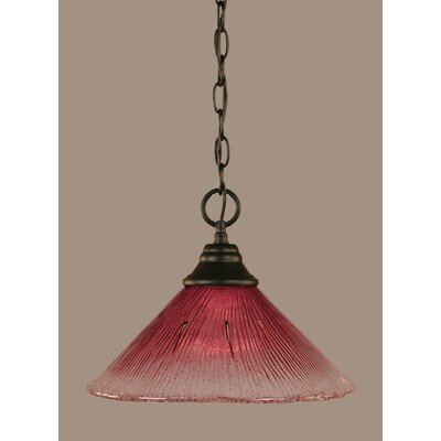 1-Light Mini Pendant Shade Color: Wine, Size: 9.75 H x 12 W