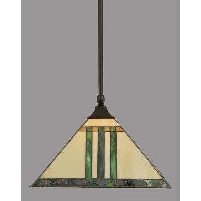 1-Light Mini Pendant Shade Color: Green, Finish: Dark Granite