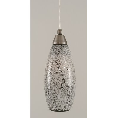 1-Light Mini Pendant Finish: Brushed Nickel, Shade Color: Black, Size: 13.75 H x 5 W