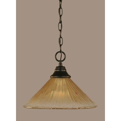 1-Light Mini Pendant Shade Color: Teal, Size: 9.75 H x 12 W