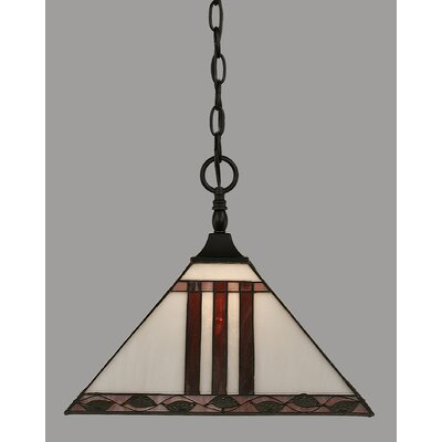 1-Light Mini Pendant Shade Color: Purple, Finish: Matte Black