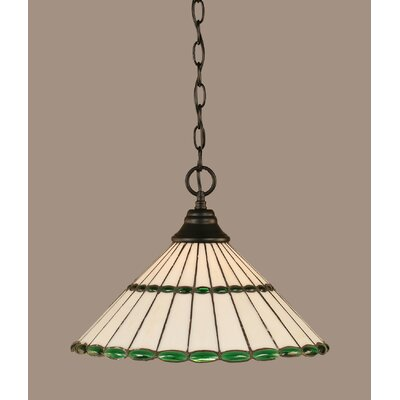 1-Light Mini Pendant Shade Color: Honey and Amber Brown, Finish: Dark Granite