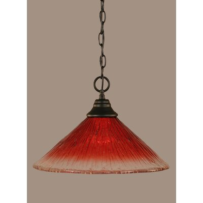 1-Light Mini Pendant Shade Color: Raspberry, Size: 10.5 H x 16 W