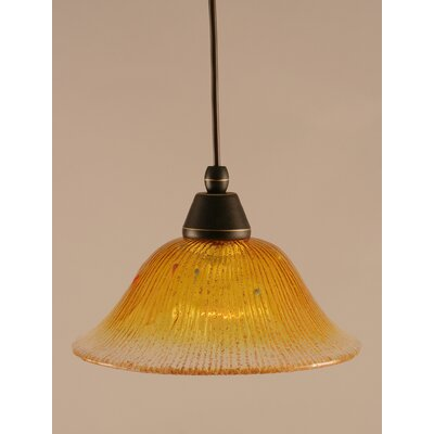 1-Light Mini Pendant Finish: Dark Granite, Shade Color: Gold Champagne