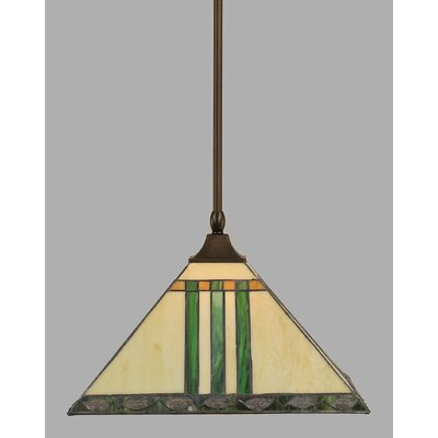 1-Light Mini Pendant Finish: Bronze, Shade Color: Green