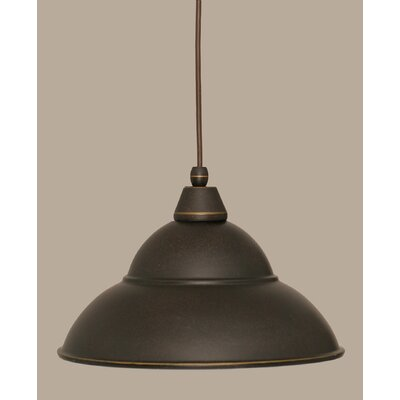 1-Light Mini Pendant Size: 8.5 H x 13 W, Finish: Dark Granite