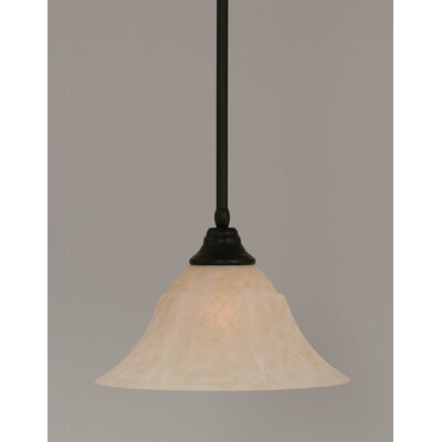 Stem 1-Light Mini Pendant Shade Color: Amber, Finish: Matte Black, Size: 9.5 H x 14 W