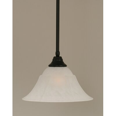 Stem 1-Light Mini Pendant Shade Color: White, Finish: Matte Black, Size: 9.5 H x 14 W