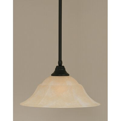 Stem 1-Light Mini Pendant Shade Color: Amber, Finish: Matte Black, Size: 9 H x 16 W