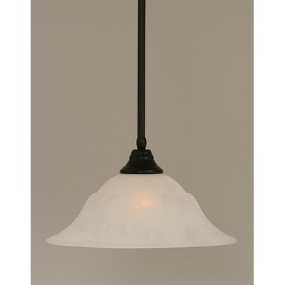 Stem 1-Light Mini Pendant Finish: Matte Black, Shade Color: White, Size: 9 H x 16 W