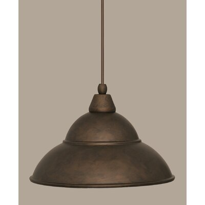1-Light Mini Pendant Size: 8.5 H x 13 W, Finish: Bronze