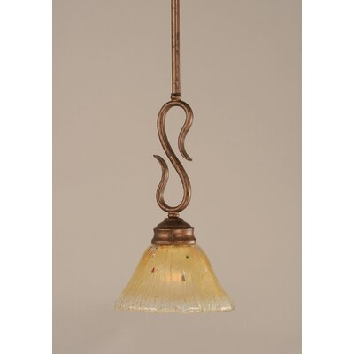 Swan 1-Light Mini Pendant Finish: Bronze, Size: 7 W - Shade Height 13, Shade Color: Amber Crystal Glass