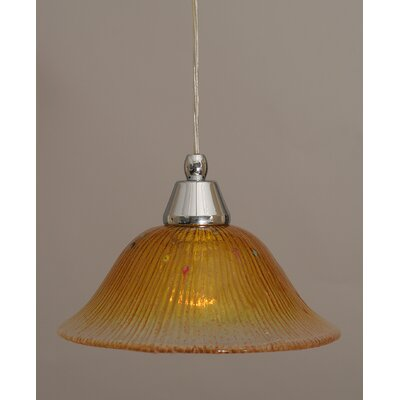 1-Light Mini Pendant Finish: Chrome, Shade Color: Gold Champagne