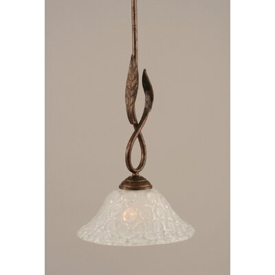 Leaf 1-Light Mini Pendant Finish: Bronze, Glass Color: Bubble