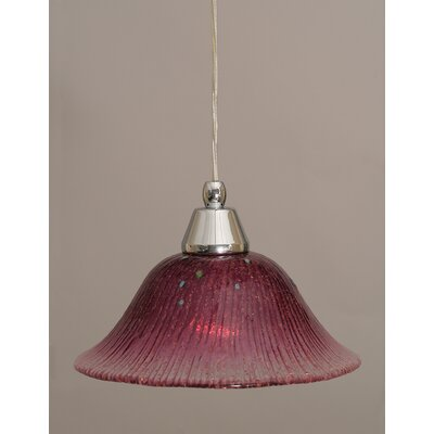 1-Light Mini Pendant Finish: Chrome, Shade Color: Wine