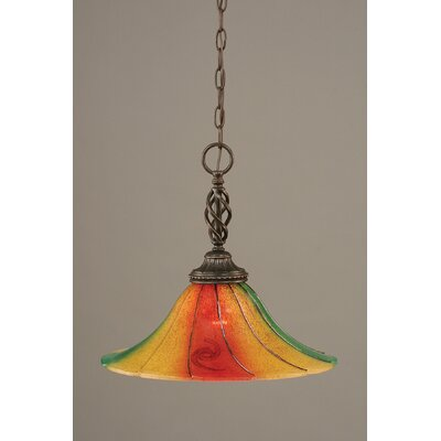 Elegant� 1-Light Pendant Shade Color: Mardi Grass Glass