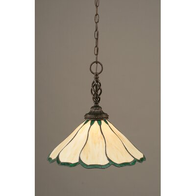 Elegante 1-Light Mini Pendant Shade Color: Honey and Hunter Green