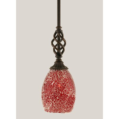 Ellesmere 1-Light Mini Pendant Shade Color: Red
