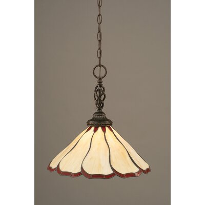 Elegante 1-Light Mini Pendant Shade Color: Honey and Burgundy