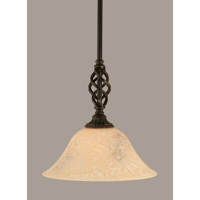 Weathers Mini Pendant With Hang Straight Swivel Shade Color: Italian Marble Glass, Size: 10 W