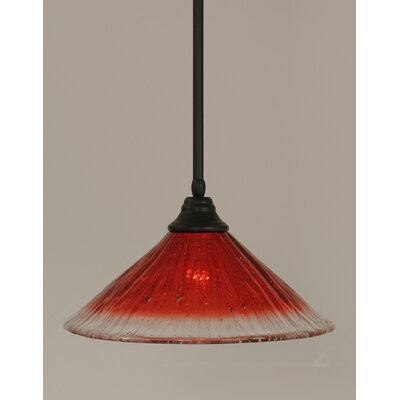 Stem 1-Light Mini Pendant Shade Color: Raspberry