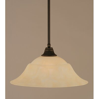 Stem 1-Light Mini Pendant Finish: Dark Granite, Shade Color: Amber, Size: 9.5 H x 20 W