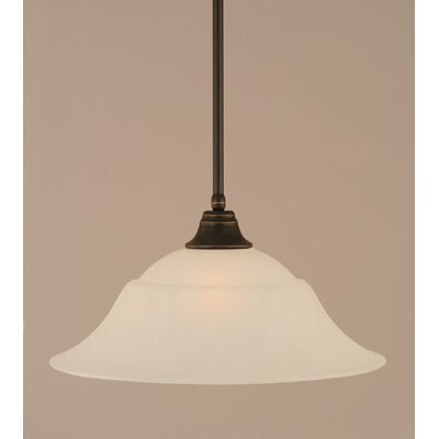 Stem 1-Light Mini Pendant Finish: Dark Granite, Shade Color: White, Size: 9.5 H x 20 W
