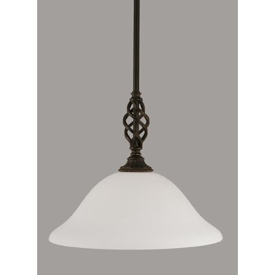 Elegante 1-Light Mini Pendant Shade Color: White, Size: 11.5 H x 12 W