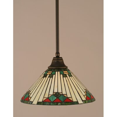 Stem 1-Light Mini Pendant Finish: Dark Granite, Shade Color: Green