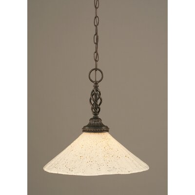 Elegant� 1-Light Pendant Shade Color: Gold Ice Glass