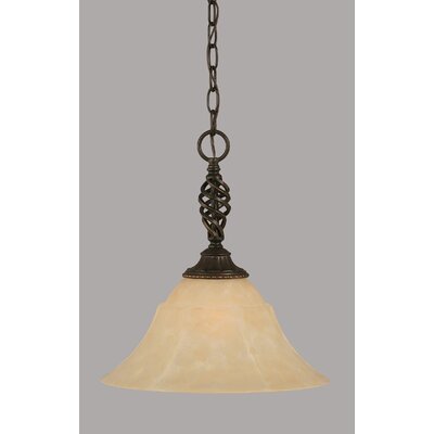 Elegante 1-Light Mini Pendant Shade Color: Amber, Size: 15.25 H x 14 W