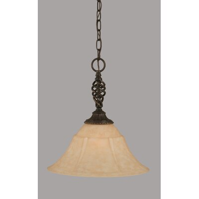 Ellesmere 1-Light Amber Mini Pendant Size: 15.25 H x 14 W