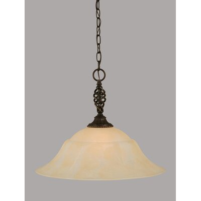 Elegante 1-Light Mini Pendant Shade Color: Amber, Size: 15.5 H x 20 W