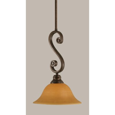 Babin 1-Light Mini Pendant Size: 15.75 H x 10 W, Shade Color: Cayenne