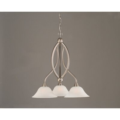 Blankenship 3-Light Glass/Crystal Shaded Chandelier Finish: Brushed Nickel