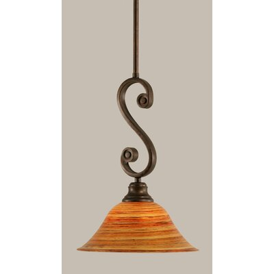 Babin Mini Pendant With Hang Straight Swivel Size: 10 W, Shade Color: Firre Saturn Glass