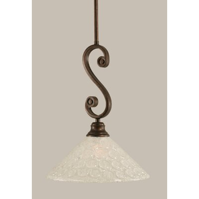 Babin Mini Pendant With Hang Straight Swivel Size: 12 W, Shade Color: Bubble Glass