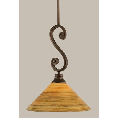 Babin Mini Pendant With Hang Straight Swivel Size: 12 W, Shade Color: Firre Saturn Glass