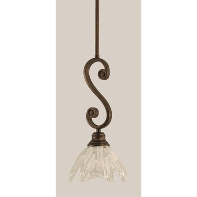 Babin Mini Pendant With Hang Straight Swivel Size: 7 W, Shade Color: Italian Ice Glass