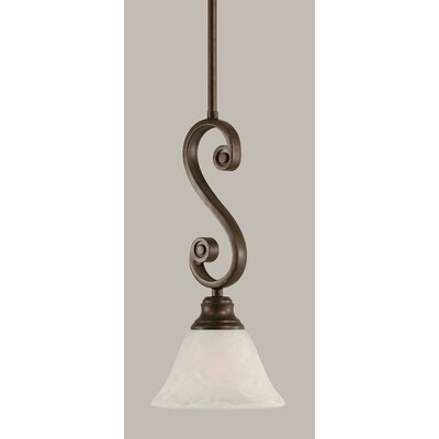 Babin Mini Pendant With Hang Straight Swivel Size: 7 W, Shade Color: White Marble Glass