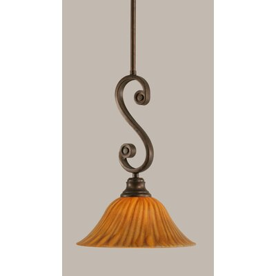 Babin Mini Pendant With Hang Straight Swivel Size: 10 W, Shade Color: Tiger Glass